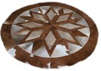 A 40972  Cowhide rug Tapis peau de vache MANDALA PATCHWORK Collection Quebecuir Premium SUPER BIG SIZE